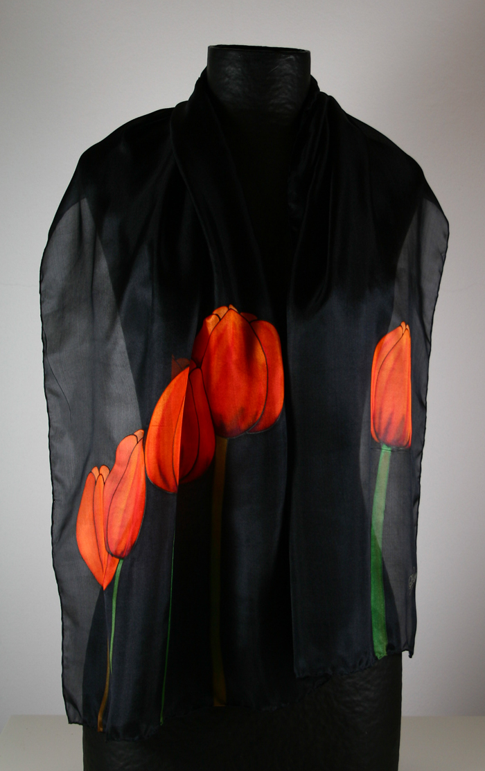 Natural silk scarf: Tulips