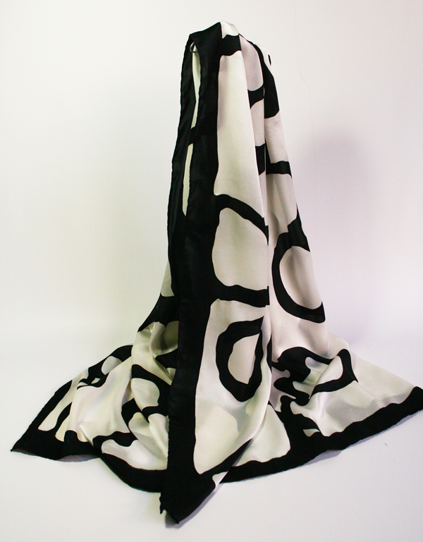 Handpainted natural silk shawl: white/black